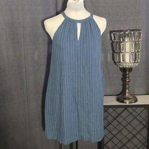 Lush Blue Pinstripe Linen Halter Dress sz S